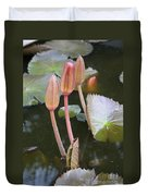 Three Lotus Buds Duvet Cover