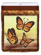 Three Monarch Butterflies Duvet Cover
