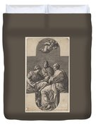 Three Muses And A Gesturing Putto Duvet Cover