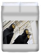 Three Muses On The Lithuanian National Dramatic Theatre In Vilnius Duvet Cover