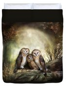 Three Owl Moon Duvet Cover by Carol Cavalaris