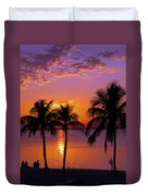 Three Palm Trees At Sunset Duvet Cover