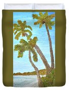 Three Palms At The Beach Duvet Cover