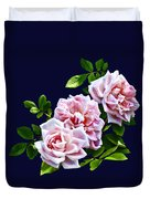 Three Pink Roses With Leaves Duvet Cover