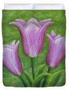 Three Pink Tulips Duvet Cover
