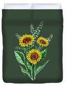 Three Playful Sunflowers Duvet Cover