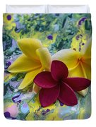 Three Plumeria Flowers Duvet Cover