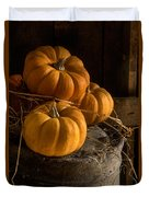 Three Pumpkins On A Bucket Duvet Cover