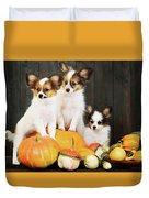 three puppy with pumpkin by Iuliia Malivanchuk Duvet Cover