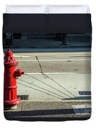 Three Red Lines Duvet Cover