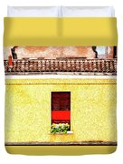 Three Red Windows With Flowers Of A Typically Italian House. Duvet Cover