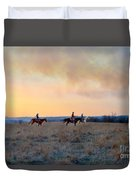 Three Riders In The Kansas Flint Hills Duvet Cover