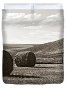 Three Rolls Of Hay Duvet Cover by Lorraine Devon Wilke