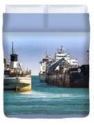 Three Ships In The Harbor Duvet Cover