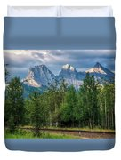 Three Sisters And The Railroad Duvet Cover