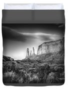 Three Sisters Formation At Monument Valley Duvet Cover