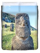 Three Standing Moai Statues Duvet Cover