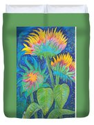 Three Sunflowers In The Mid Summer Night  Duvet Cover