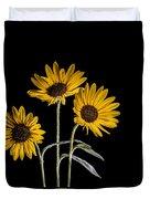 Three Sunflowers Light Painted On Black Duvet Cover