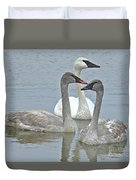 Three Swans Swimming Duvet Cover