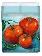 Three Tangerines Still Life Grace Venditti Montreal Art Duvet Cover
