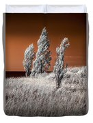 Three Trees  In Infrared On Top Of A Grassy Dune Duvet Cover