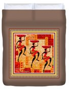 Three Tribal Dancers L A With Decorative Ornate Printed Frame. Duvet Cover