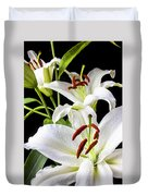 Three White Lilies Duvet Cover by Garry Gay