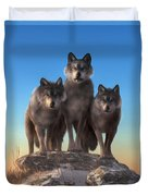 Three Wolves Watching You Duvet Cover