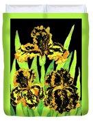 Three Yellow-black Irises, Painting Duvet Cover