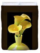 Three Yellow Calla Lilies Duvet Cover