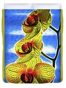 Three Yellow Orchid Blooms Duvet Cover