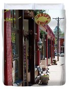 Thrift Shop And Sign In Manitou Springs Duvet Cover