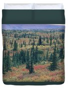 Tiaga Fall Colors, Tundra And Spruce Duvet Cover