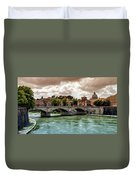 Tiber River, Ponte Sant'angelo And St. Peter's Cathedral, Roma, Italy Duvet Cover