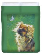 Tibetan Spaniel And Cabbage White Butterfly Duvet Cover