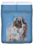 Tibetan Spaniel In Snow Duvet Cover
