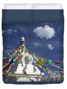 Tibetan Stupa With Prayer Flags Duvet Cover