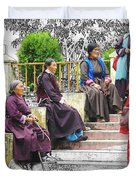 Tibetan Women Waiting Duvet Cover