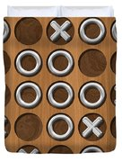 Tic Tac Toe Wooden Board Generated Seamless Texture Duvet Cover