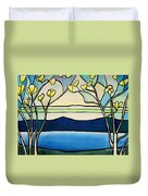 Tiffany And Blossoms Stained Glass Duvet Cover