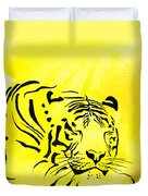 Tiger Animal Decorative Black And Yellow Poster 1 - By   Diana Van Duvet Cover