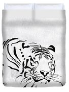 Tiger Animal Decorative Black And White Poster 1 - By  Diana Van Duvet Cover