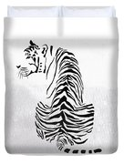 Tiger Animal Decorative Black And White Poster 4 - By  Diana Van Duvet Cover