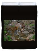 Tiger Crossing Poster Duvet Cover