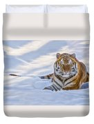 Tiger In The Snow Duvet Cover