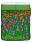 Tiger Lilies And Purple Hostas Duvet Cover