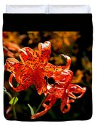 Tiger Lilies Duvet Cover by Rona Black