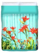 Tiger Lily And Rustic Blue Wood Duvet Cover