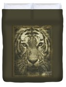 Tiger Over Dictionary Page Duvet Cover